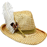 Vintage Straw & Feather Mr. John Hat with Decorative Mushrooms