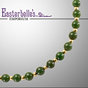 Gorgeous Vintage Green Jade Necklace With 14K Gold-Filled Beads