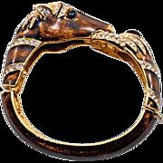 Gorgeous Vintage Signed Ciner Horse Cuff Bracelet - Wonderful Condition