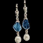 Sweet London Blue Topaz and Freshwater Pearl Earrings