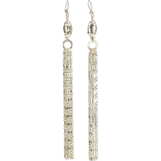 Sexy Marcasite and Sterling Shoulder Duster Chain Earrings