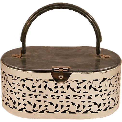 Springtime Vintage Box Purse with Lucite and Pierced Metal