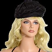 Vintage '40s Burgundy Black Satin Pleated Hat