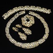 Trifari Textured Nugget Parure Vintage Necklace Bracelet Pin Earrings Set