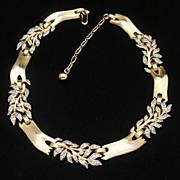 Textured Branch and Rhinestone Leaf Necklace Vintage Trifari