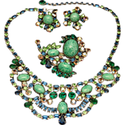 Necklace Pin Earrings Set Vintage Blues Greens High Quality Stones