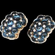 Vogue Bijoux Vintage Earrings Dark Blue Glass Cabs & Rhinestones