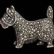 Dog Pin Sterling Silver Marcasites Terrier Scottie Westie Vintage Figural Brooch