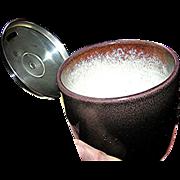 Ceramic Mustard:Bakelite spoon, silver plate top, mid 20th c, France