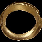 SALE Bracelet:bangle, gilt gold, designer, hand-made and carved