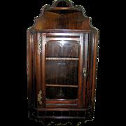 SOLD Antiques:Primitive furniture, Corner cupboard, hanging, walnut, gallery