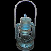 SALE Lantern, kerosene, Dietz, signed Little Wizard,  original blue paint, marked- City of Bal