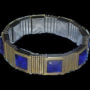 SALE Bracelet, Japanese costume, stretch, ultra marine blue glass, Tiger Health