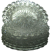 SALE Brilliant Cut Glass plates:desert, set of seven, perfect, no signature plus a miss-match