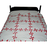 SOLD Quilt, American, pinwheel, red and white, 7-10 stitches, 75 x 80 Inches...NICE!