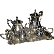 SOLD Silver-plated tea and coffee set on tray, Four piece service on tray, Wilcox set, circa 1