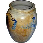 SALE Antique Stoneware Crock, with handles- Feather decoration with Clear impressed No.4 in a