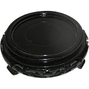 Oriental stand for bowl or dish, black, lacquer, pierced motif
