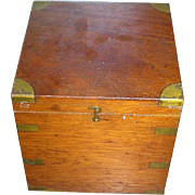 SOLD Mahogany box with brass plate trim, dovetailed - Red Tag Sale Item