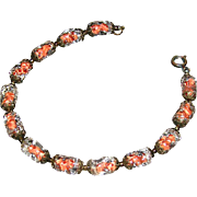 venetian glass ladies bracelet with thirleen piece held in a charming cut-work vintage brass-l