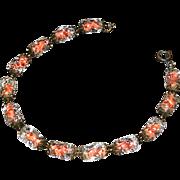 venetian glass ladies bracelet with thirleen piece held in a charming cut-work vintage brass-l
