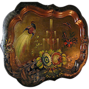 SALE Metalware:Tole painted tray, Chippendale style, France, peacock & fountain, 19th c