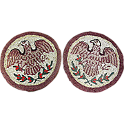 SOLD Pair Hooked Rugs, Eagle Motif, Victorian, Where are you going to find eagles again''1