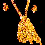 SALE Retro, drop Necklace, busy, gold tone-nice!