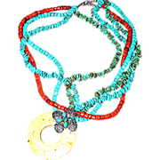SALE Faux plastic turquoise, coral, necklace