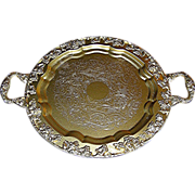 SALE Silverplate tray, faux gold, Sheetz Rockford, 1875