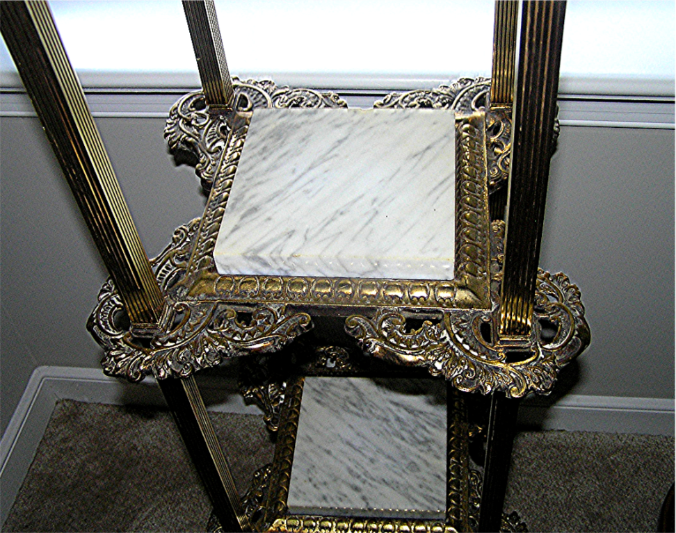 Furniture Stand Shelves Marble And Brass 19th C From