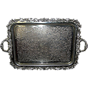SOLD Huge silver-plate tray, by Goldfeder Silver Company, un-monogrammed and missing no plate