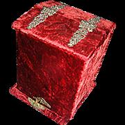SALE Antique Men's Velvet Collar box, original, 6 inserts