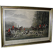 """SOLD Antique print, intaglio, hunt scene, """"The Meet at Blagdon"""" by J. W. Snow"""