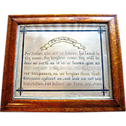 SOLD Antique Bird's-Eye, maple frame, with fraktur of Lord's Prayer, signed