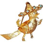 Dainty Vintage 14 Karat Gold Figural Bird Brooch with Diamonds and Turquoise Cabochons