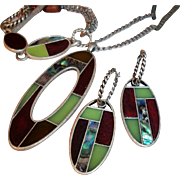 SALE Unusual Bold Vintage Ethnic Tribal Set with Abalone, Wood, and Enamel Inlays