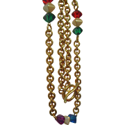 SALE Bold Chunky Colorful Lucite Beaded Goldtone Metal Chain Link Necklace