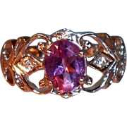 SALE Sterling Silver Scalloped Filigree Ring  Faceted Genuine Amethyst and Clear CZs, Size 7