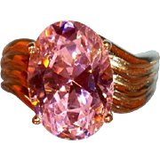 SALE Large Brilliant Multi-Faceted Oval Pink Cubic Zirconia  Set in Vermeil, Size 9