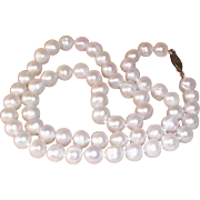 "SALE Classic Cultured Pearl Single Strand Necklace with Gold-Filled Clasp 18"" long , 7mm"