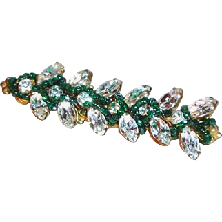 SALE Sparkling Miriam Haskell Bar Pin with Crystal Clear Rhinestones and Dark Green Glass Beads