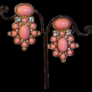 "SALE Rich Elizabeth Taylor for Avon ""Sea Coral"" Clip Earrings"