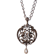 "SALE Vintage Avon ""Medallion"" Silvertone Metal & Imitation Pearl Pendant Necklace, 1"