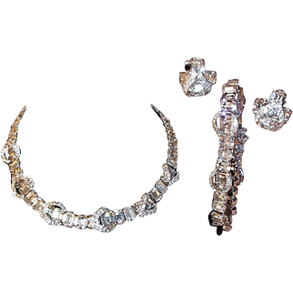 SALE Brilliant Eisenberg Parure: Necklace, Clip Earrings, and Bracelet with Crystal Clear Rhinestones