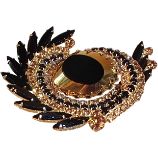 SALE Dramatic Brooch with Black and Gold Rhinestones and Art Glass Center, 1960s