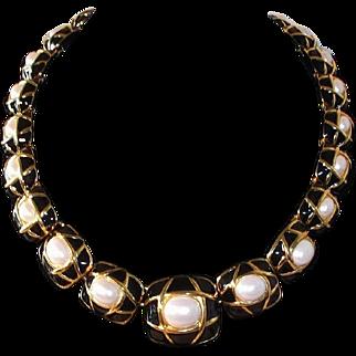 SALE Classic Elegance Napier Black Enamel, Goldtone, and Imitation Pearl Necklace, 1980s