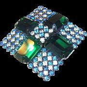 SALE Hobe Brilliant Diamond Shaped Emerald Green, Blue, & Clear Rhinestones Brooch