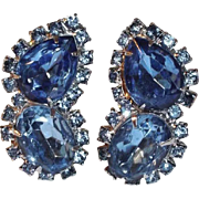 Sparkling Deep Blue Rhinestone and Silvertone Clip Earrings