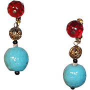 SALE Lovely Marvella Dangle Clip Earrings with Blue & Red Glass Beads